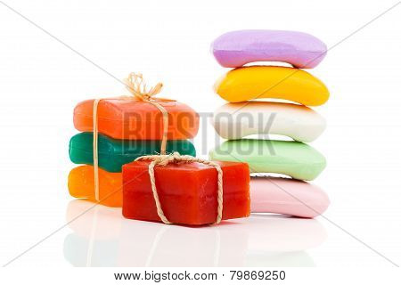 Stack Of New Colorful Soap Bars