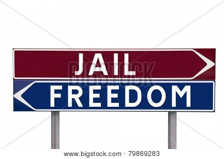 Direction Signs with choice between Jail or Freedom isolated on white background