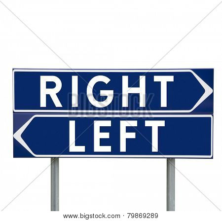 Blue Direction Signs with choice between Left or Right isolated on white background