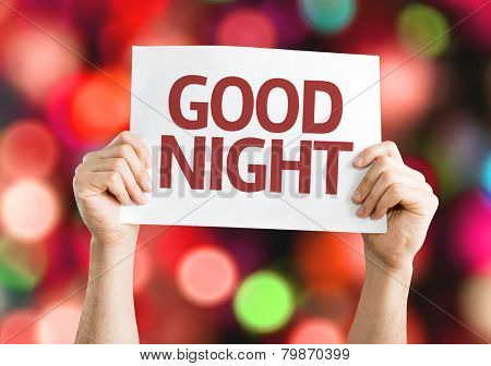 Good Night card with colorful background with defocused lights