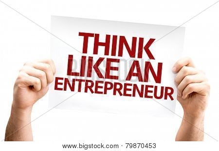Think Like an Entrepreneur card isolated on white background