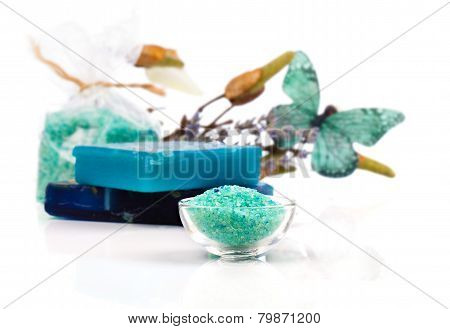 Spa Treatment With Turquoise Bath Salts,
