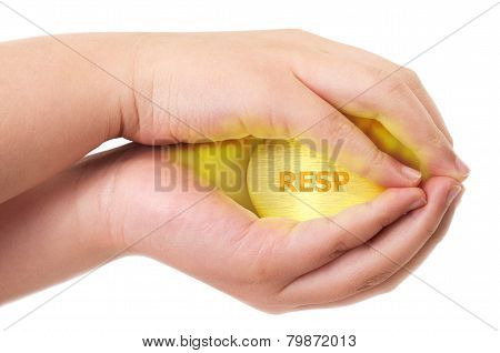 Canadian Registered Education Savings Plan, Resp Concept With Two Hands Holding Tight On A Golden Eg