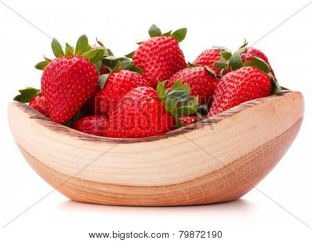 Strawberries in wooden bowl isolated on white background cutout