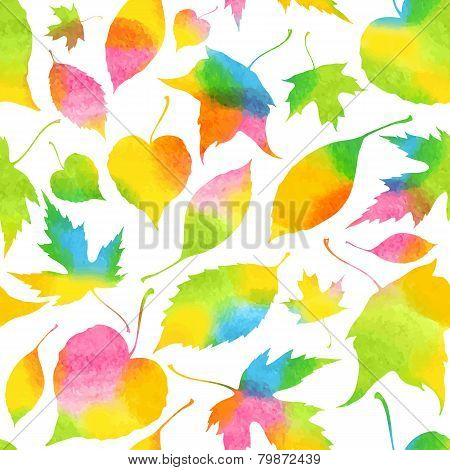 Seamless pattern with decorative watercolor falling leaves