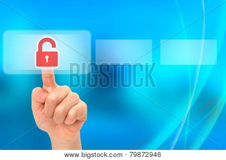 Child Unlocking Parental Security Concept On Virtual Touch Screen