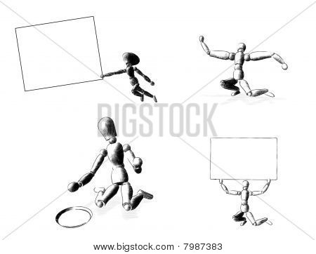 3d render of four figures: strong begging board running board, Illustration on white background