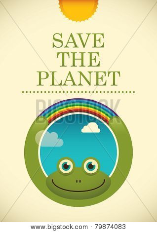 Ecology poster with comic frog. Vector illustration.