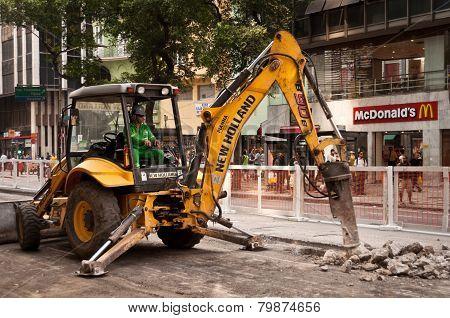 Road repairing works in downtown Rio de Janeiro