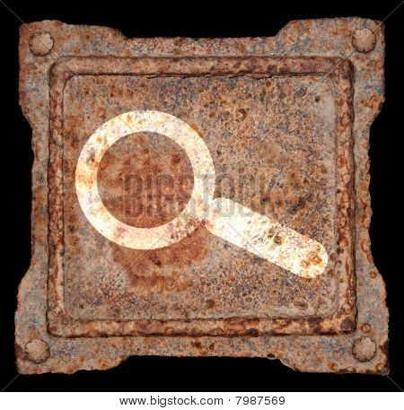 Magnifier Icon Old Metal.