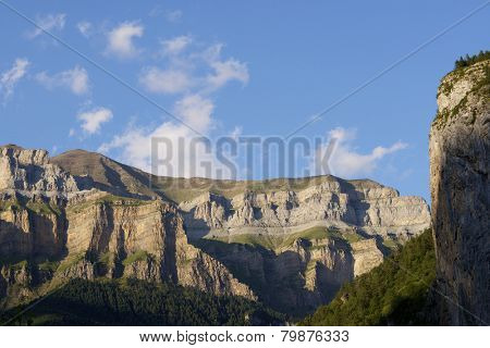 Mountains in the Pyrenees, Ordesa Valley National Park, Aragon, Huesca, Spain.