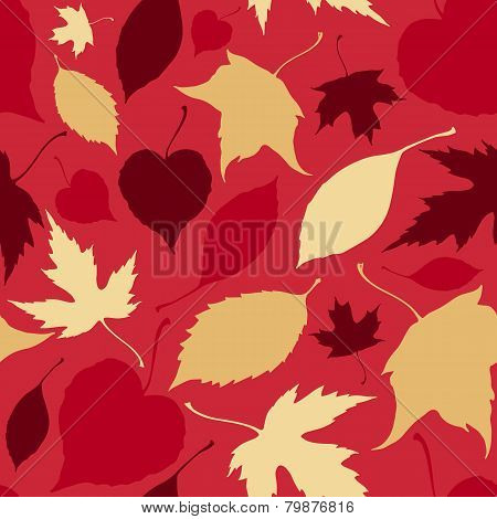 Seamless pattern with falling leaves. Autumn background