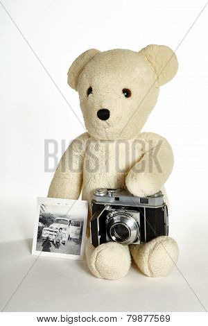 Teddy Bear with Old Cameras and Photos of Boy on White Background