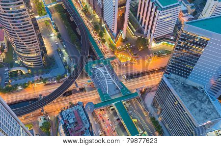 Aerial view building city center in Bangkok, Thailand