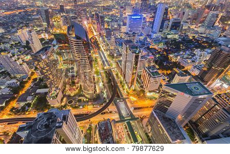 X Cross, aerial view of Bangkok business city center