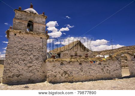 Exterior of the beautiful Parinacota village church, Putre, Chile.