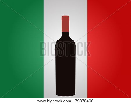Italian Flag With A Bottle Of Wine