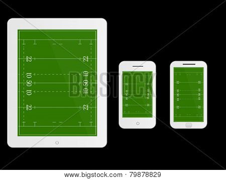 Mobile Devices With Rugby Field White