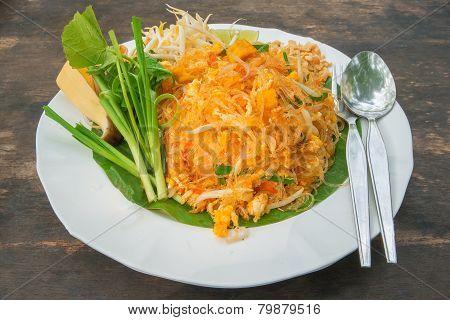 Pad Thai Noodles In White Plate - Thai Food