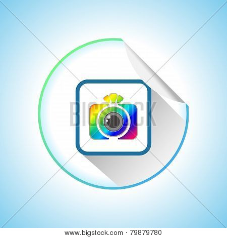 Photo Camera Sign Round Sticker