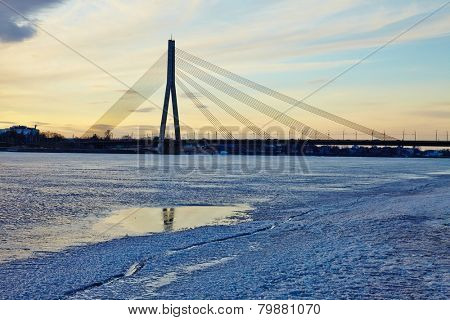 Bridge in Riga over the frozen Daugava river