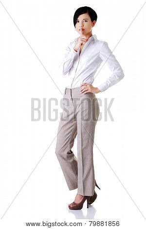 Attractive young businesswoman showing silent sign