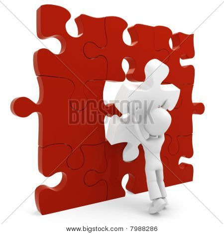 3d man pushing a puzzle piece into its place