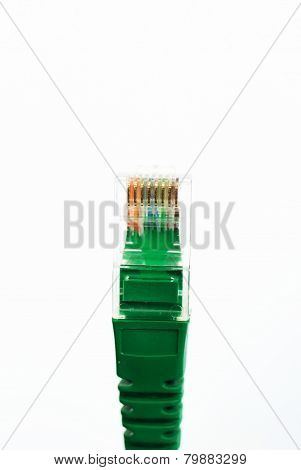 Network Cable RJ45 Head on white background .