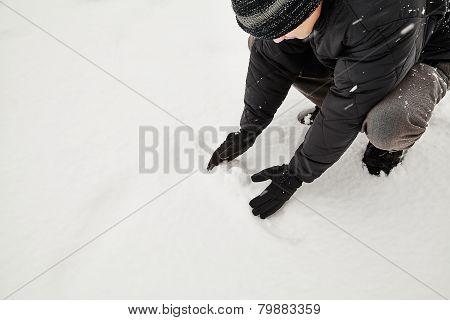 Man Making Snowball