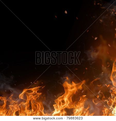 Beautiful stylish fire flames, close-up.