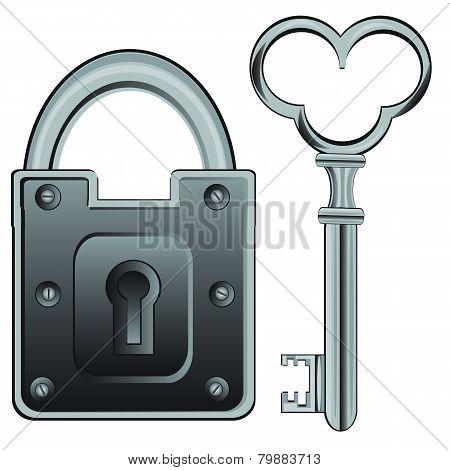 Metallic lock and key