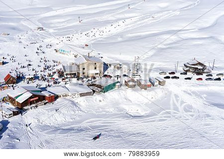 Aerial View Of Falakro Ski Center, Greece. The Ski Resort Of Falakro Mountain Is Located In The Area
