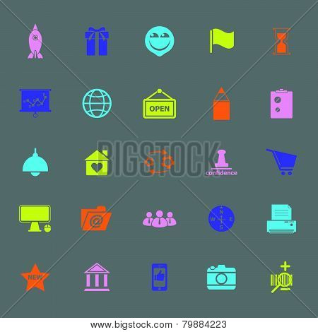 Business Start Up Color Icons On Gray Background