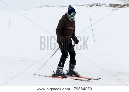 Skier skiing on the mountain of Falakro Greece. The ski resort of Falakro Mountain is located in the