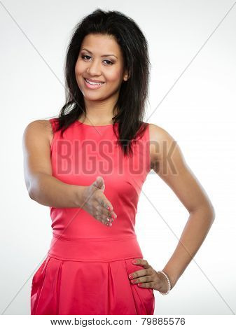 Girl Mixed Race Giving Palm For Handshake