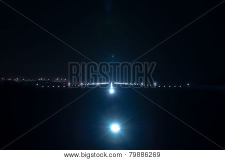 Landing lights at the airport runway
