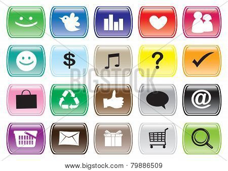 Interface Icon Set And Buttons For Social Media Networking