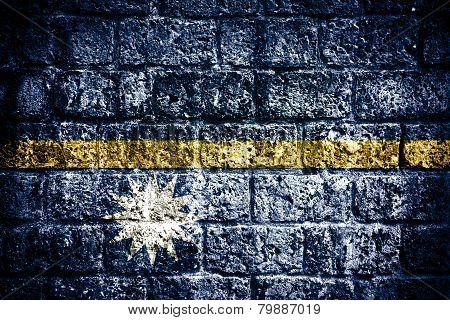 Nauru flag on old brick wall