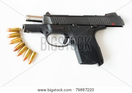 Gun And Bullet On White Background.