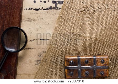 Magnifying Glass And Wooden Boxes