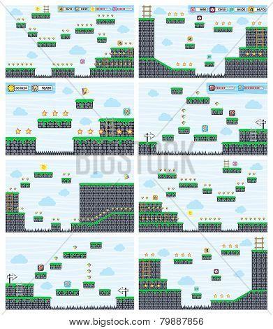 game asset screen platform set