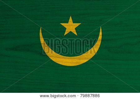 Mauritania Flag painted on wood.