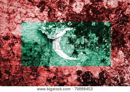 Maldives Flag painted on grunge wall.