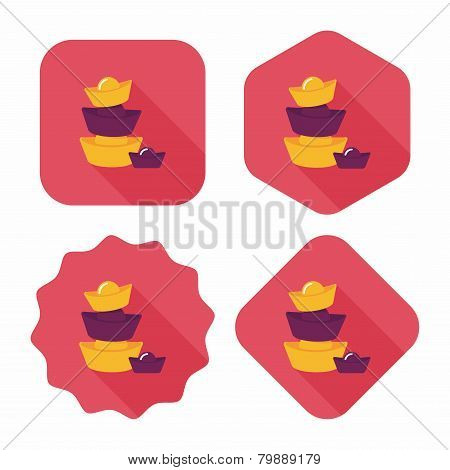 Chinese New Year Flat Icon With Long Shadow,eps10, Gold Ingot Decoration Means