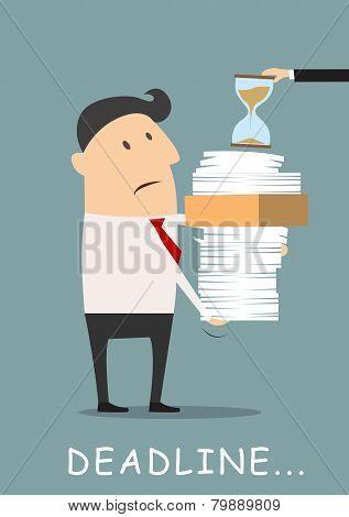 Deadline concept businessman carrying eports
