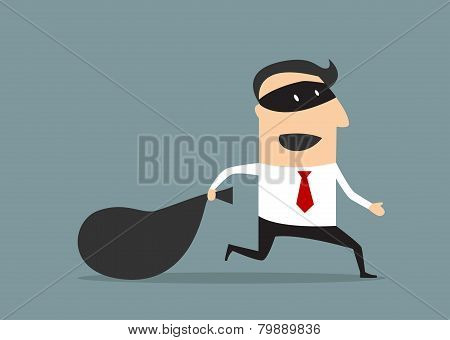 Thief businessman carrying money bag
