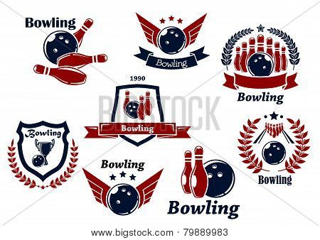 Bowling sports emblems and symbols