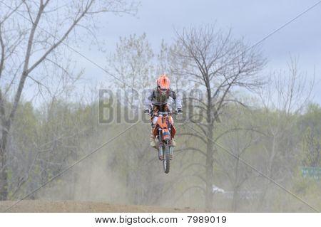 Motocross Racer Flying Through The Air