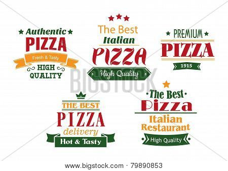 Pizza banners, labels and signs
