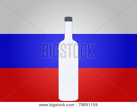 Russian Flag With A Bottle Of Vodka
